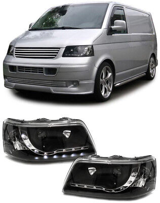 Scheinwerfer mit LED Tagfahrlicht Optik schwarz für VW Transporter Bus T5 03-09 (Schwarz Licht Scheinwerfer)