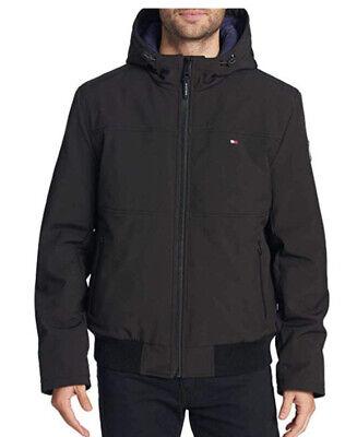 Tommy Hilfiger Mens Full Zip Bomber Jacket Coat Size LARGE Black NEW