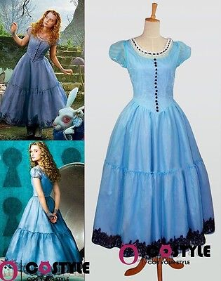 Women Costume Tim Burton Alice In Wonderland Cosplay Blue Dress Clothes S-XL Hot - Alice In Wonderland Tim Burton Dress