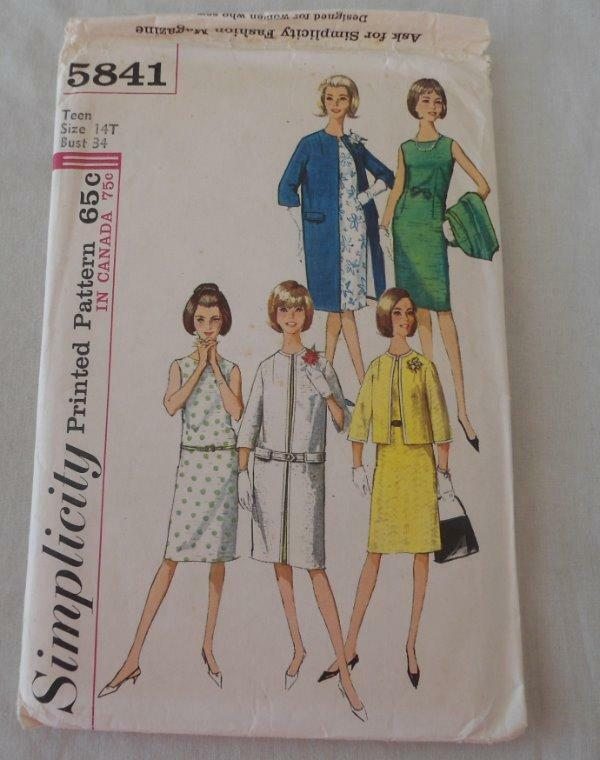 UC FF Vtg 60s Simplicity Teen Sewing Pattern 14T Dress & Coat Suit #5841