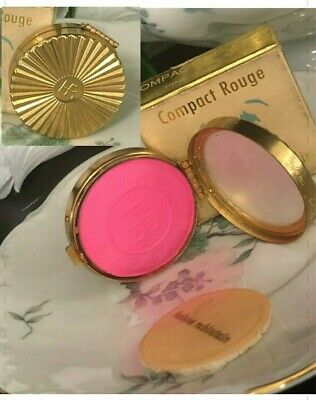 VINTAGE HELENA RUBINSTEIN MAKE-UP CHEEK ROUGE BLUSH GOLD METAL COMPACT PINK  NEW
