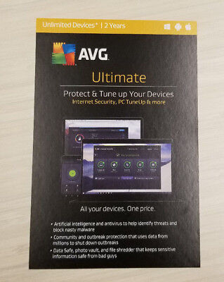 Avg Ultimate 2017   2 Years Unlimited Devices Antivirus New Keycard Ships 3 Day