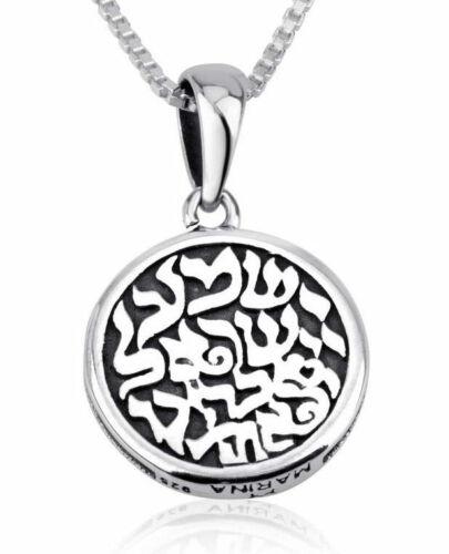 925 Sterling Silver Shema Yisrael Necklace - Hear O Israel in Hebrew Shma Israel