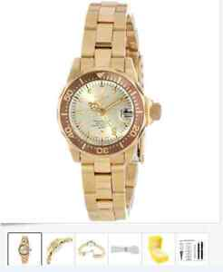 Invicta Women''s 12527 Pro-Diver 18k Gold Ion-Plated Stainless S
