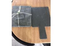 Slate placemats and chopping board