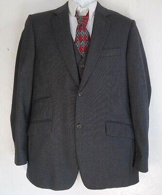 "Vintage ""My Suit ""3 Piece Mens Dark Gray Wool Suit  40R  ..Chest 43"""