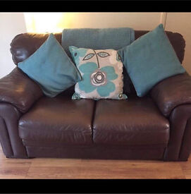 Brown leather sofa 2 seater sette