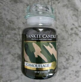 Rare Camouflage Yankee Candle Large Jar New