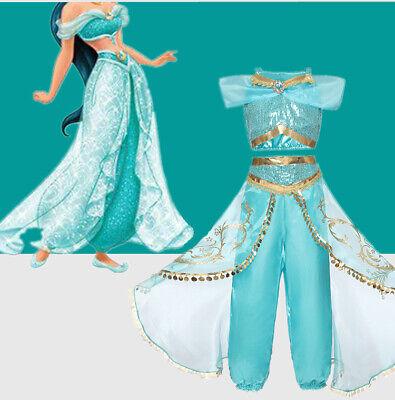 Princess Girl Aladdin Jasmine Cosplay Outfit Costume Halloween Birthday Dress
