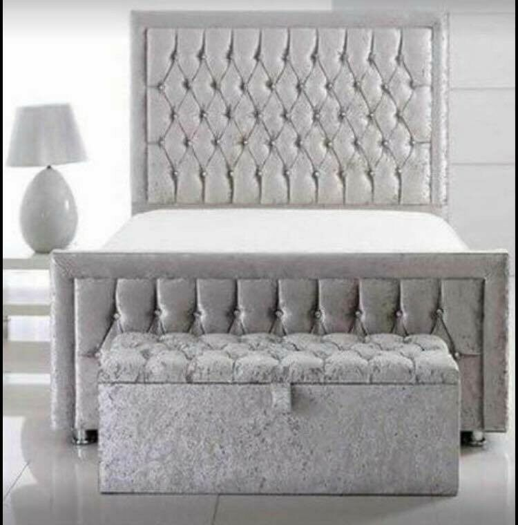 Princess Silver Crushed Velvet Bed With 54 High Headboard In