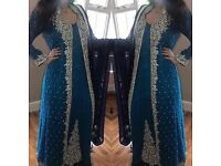 Wedding Wear Blue Maxi Dress With Dupatta Size S-M Pakistani/Indian