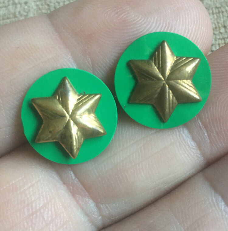 Vintage Girl Scouts USA Six Pointed Star Pin Set Of 2 Pins Nice Shape!