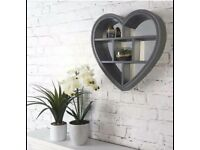 Loft Range Heart Shaped Mirror Shelf - Grey