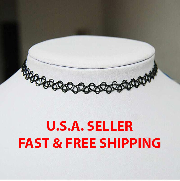 Jewellery - Gothic Tattoo Choker Stretch Necklace Black Retro Henna Elastic Boho 90s