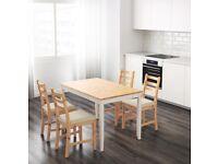IKEA LERHAMN Table\desk, light antique stain/white plus STEFAN Chair, white