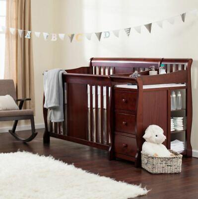 Baby Crib Changing Table Set Infant Nursery Furniture Wood Toddler Bed Boy Girl
