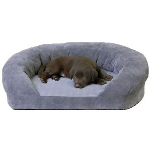 K & H ORTHO BOLSTER SLEEPER DOG BED MEDIUM GRAY  VELVET