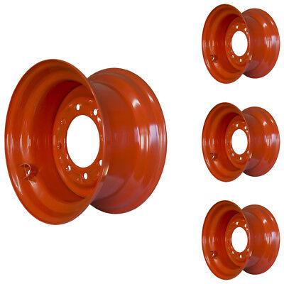 Set Of 4 - 8 Lug Kubota Ssv75 Skid Steer Wheels 9.75x16.5 Fit 12x16.5 Tires