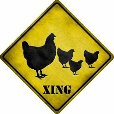 USA XING Warnschild Deko Blechschild Verkehrsschild Achtung Hühner Chicken Huhn