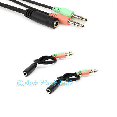 2X AUDIO ADAPTER BLACK CABLES 3.5MM PC LAPTOP MAC SPEAKER MIC HEADSET HEADPHONE for sale  Shipping to India