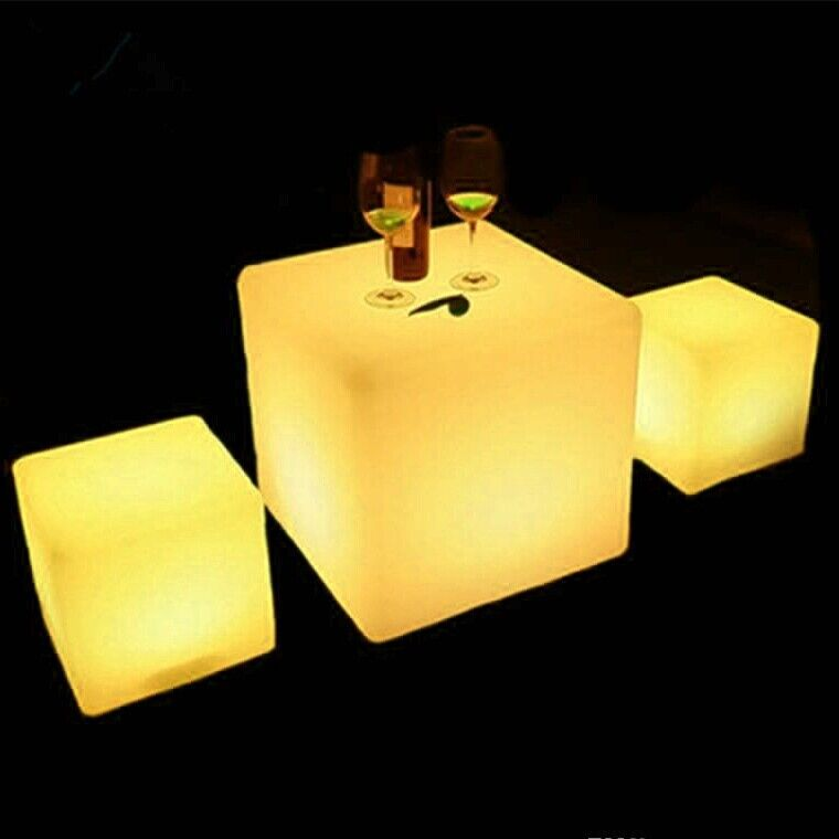 """12"""" Changing LED Light Up Night Light Square Cube Chair Table Home Garden Party 1"""