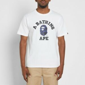 Bape College Tee White/Navy Camo