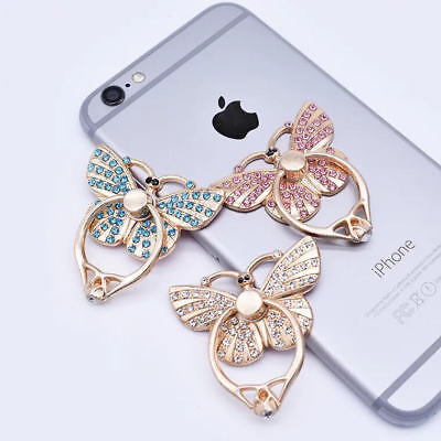 LiliDreamStore 360 Rotating Cell Phone Ring Stand Holder Grip-Crystal Butterfly Butterfly Ring Holder