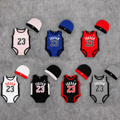 Newborn JORDAN 23 ROMPER +HAT Baby Boy Girl Kids Romper Bodysuit Clothes Outfit (Kids Jordan Clothes)