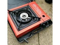 RED PORTABLE CAMPING BUTANE GAS SINGLE FLAME COOKING STOVE