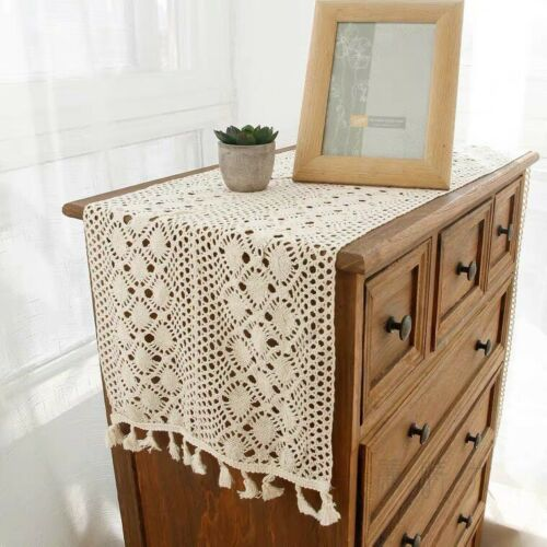 """Vintage Table Runner Dresser Scarf Hand Crochet Lace Doily with Tassel 12""""x70"""""""
