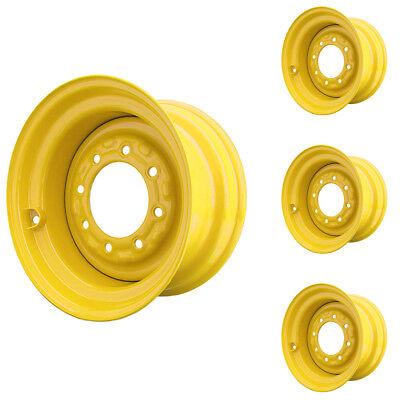 Set of 4 - 8 Lug John Deere 240-2 Skid Steer Wheels 8.25x16.5 Fit 10x16.5 Tires