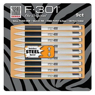 New 9pk Zebra F-301® Stainless Steel Ball Point Pen  for sale  Shipping to India