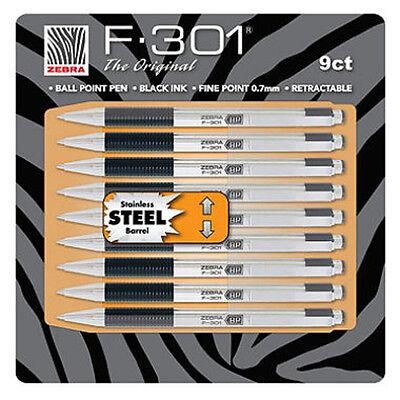 New 9pk Zebra F-301 Stainless Steel Ball Point Pen