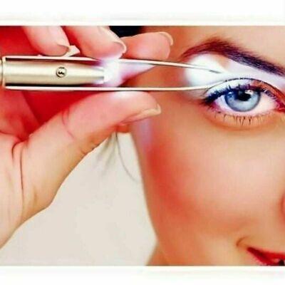 Augenbrauen Pinzette Haar (Augenbrauen Pinzette Edelstahl Haarentfernung Make-up-Tool mit hellen LED-Licht)