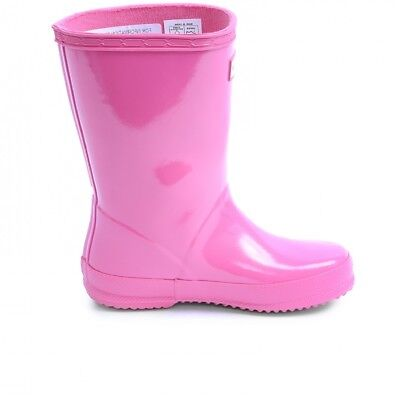 Hunter Kids First Gloss Unisex Toddler Bright Pink Rubber Outdoors Rain Boots