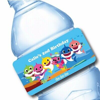 Water Bottle Wrappers (20 Baby Shark Party Favor Water Bottle Labels)