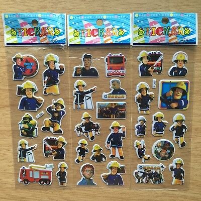 10 x FIREMAN SAM Sticker strips,Party Bag Fillers Birthday party favours, games  (Firefighter Party Game)