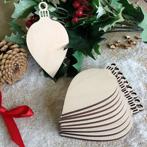 Wooden-OVAL-BAUBLES-Christmas-Shapes-Decoration-Tag-Art-Craft-Embellishments-x10