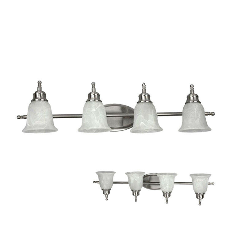 4-Globe Bathroom Vanity Light with Alabaster Globes and Bulbs Included, Nickel Home & Garden