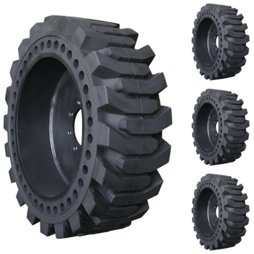 Set Of 12x16.5 Prowler Solid Pro Flex Skid Steer Tires And Wheels - Flatproof
