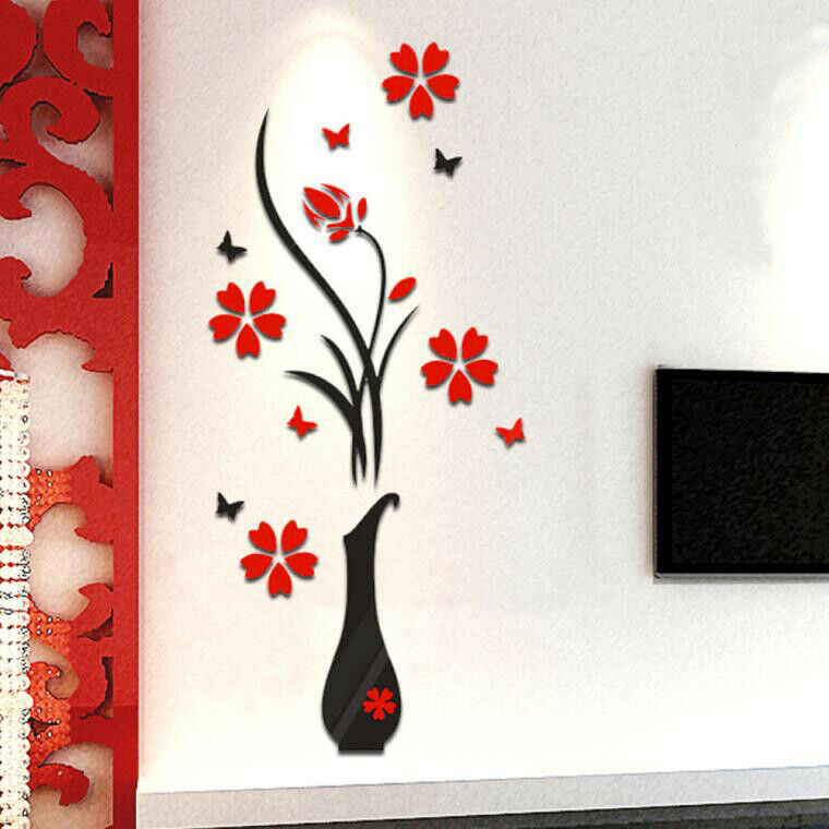 Home Decoration - Vase Flower Tree Crystal Stereo Arcylic 3D Wall Stickers Decal Home Room Decor