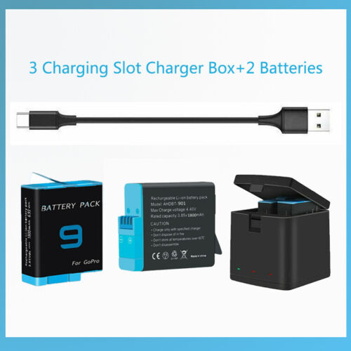 3 Charging Slot Charger Box+2 CPY Batteries for GoPro Hero 9 Black Action Camera