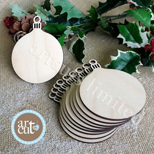 Wooden-ROUND-BAUBLES-Christmas-Decorations-Tags-Art-Craft-Embellishments-x-10