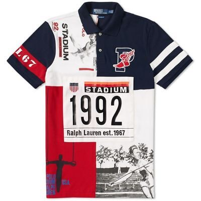 DS NEW Polo Ralph Lauren 1992 Stadium Polo Shirt White Red Navy Limited P (Navy Polo Ralph Lauren)