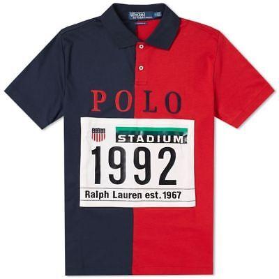 DS NEW Polo Ralph Lauren 1992 Stadium Polo Shirt Red Navy Limited P Wing (Aviators Stadium)