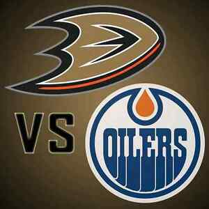 Below Face Value Row 9 Club Oilers vs Ducks Saturday April 1 Edmonton Edmonton Area image 1