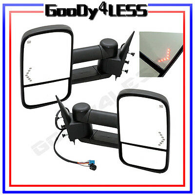03-06 Silverado Tahoe Pickup Towing Mirror Tow Power Heated LED Turn Signal Pair