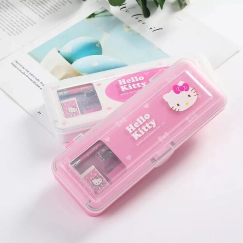 Hello kitty Pencil Case+Stationery Set Two layer Pencil Box Pencil Eraser Ruler