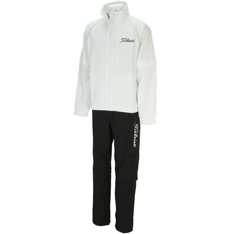 Titleist JAPAN Golf Stratch Rain Wear Jacket Pants set White New TSMR1592