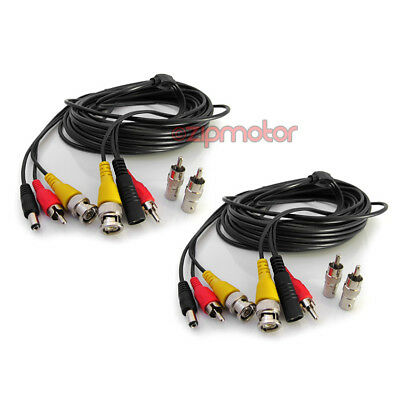 2 X Bnc Audio (2X 50FT 15M BNC CCTV DVR SECURITY CAMERA SYSTEM AUDIO RCA VIDEO DC POWER CABLE )